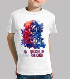 camiseta roja y azul de la religión
