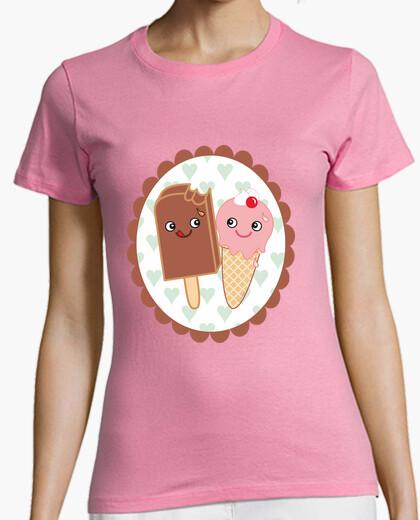 Camiseta rosa Helados enamorados kawaii