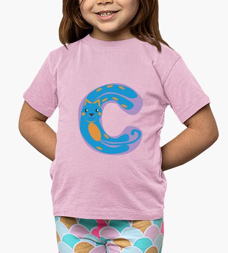 Ropa infantil camiseta rosa niño, con letra C