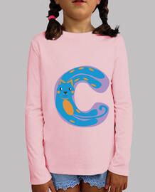 camiseta rosa niño, con letra C