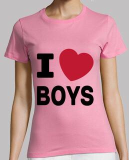 camiseta rosa para mujer - me encantan los chicos