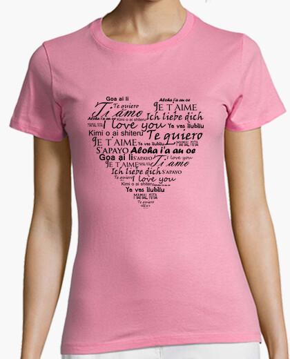 Camiseta rosa Te quiero en varios idiomas