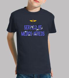 Camiseta Servicio de Medios Aéreos de la Policía Nacional Niño, manga corta, azul marino