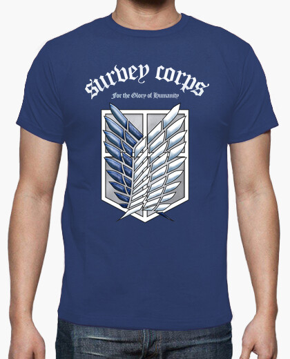 Camiseta Shingeki No Kyojin Survey Corps - Blanco/Color