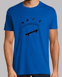 Camiseta Sin miedo a vivir. Skate. Blue