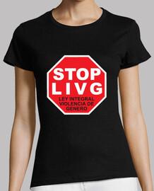 Camiseta StopLIVG color negro  Mujer