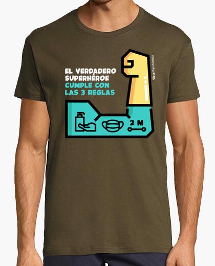 Camiseta Superhéroe brazo verde letras blancas