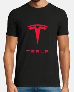 Camiseta Tesla Hombre, manga corta, negra, calidad extra