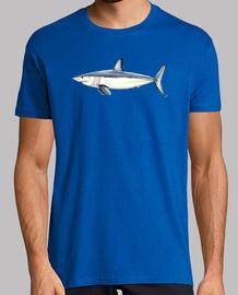 Camiseta Tiburón Mako - Hombre, manga corta cuello pico largo, gris vigoré