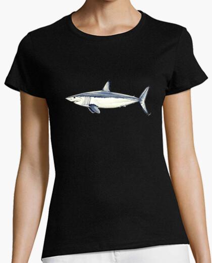Camiseta Tiburón Mako - Mujer, manga corta, negra, calidad premium