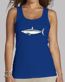Camiseta Tiburón Mako - Mujer, sin mangas, azul royal