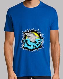 camiseta tiburón tiburón está de vuelta el hombre ataque