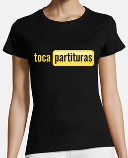 Camiseta tocapartituras Chica manga corta, negra, calidad premium