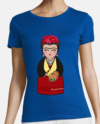 Camiseta verde Kokeshi Frida Kahlo