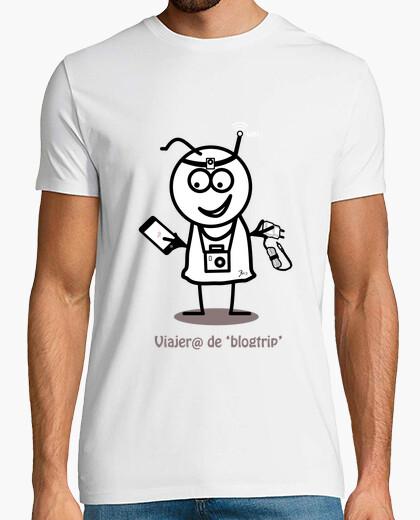 Camiseta Viajero de blogtrip-Hombre, manga corta, blanco, calidad extra