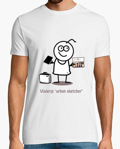 Camiseta Viajero urban sketcher-Hombre,...