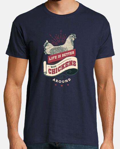 Camiseta Vintage de la vida de granja de pollo