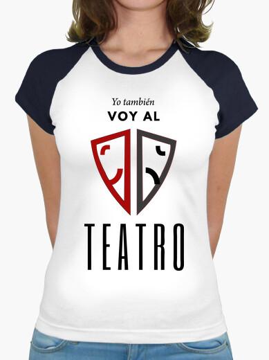 Camiseta Yo también voy al teatro. Mujer, estilo béisbol, blanca y azul marino