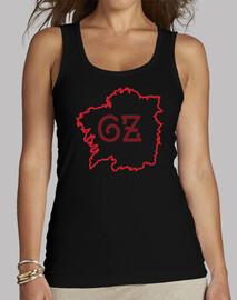 Camisola mapa Galiza negra/vermella - muller