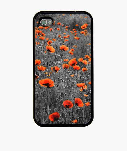 Funda iPhone campo de amapolas negro y rojo iphone 4