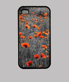 campo de amapolas negro y rojo iphone 4