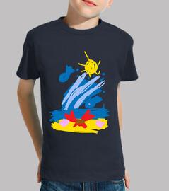 Cangrejo Playa - Niño, manga corta, azul marino
