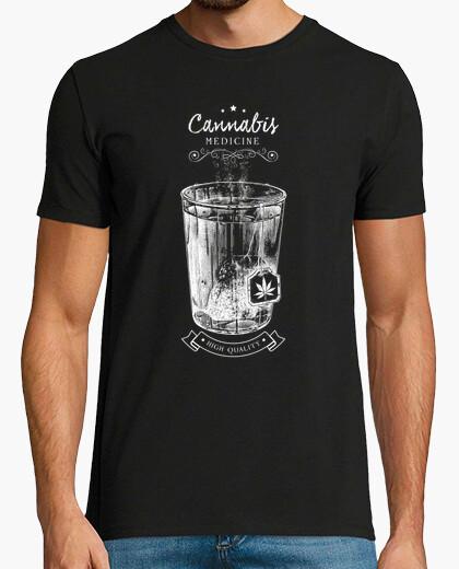 Camiseta cannabis té-medicina-vieja etiqueta-ret