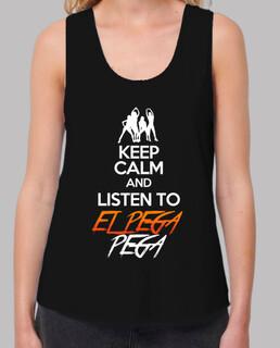 Canotta donna spalline larghe & Loose Fit nero con logo KEEP CALM AND LISTEN TO EL PEGA PEGA