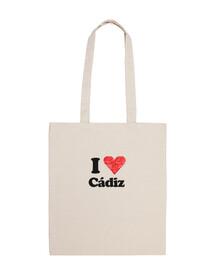 canvas bag i love cadiz heart