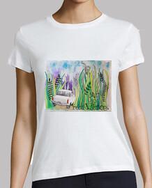 Car travel desing tshirt for woman /Mujer, manga corta, blanca, calidad premium