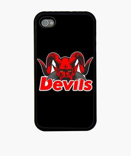 Funda iPhone cara con cuernos de diablo detrás de los escritos