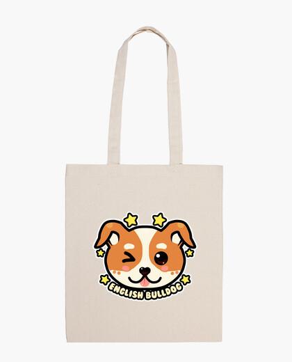 Bolsa cara de bulldog inglés kawaii chibi - bolso de mano