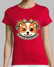 cara de bulldog inglés kawaii chibi - camisa de mujer