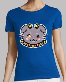cara de gato kawaii chibi escocés - camisa de mujer