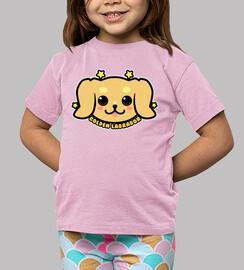 cara de perro de oro labrador kawaii - camisa de niños