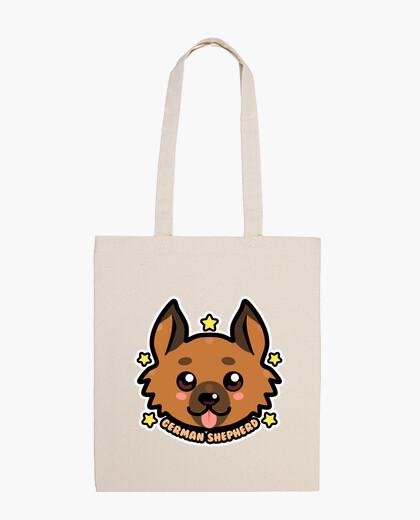 Bolsa cara de perro de pastor alemán kawaii chibi - bolso de mano