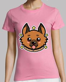 cara de perro de pastor alemán kawaii chibi - camisa de mujer
