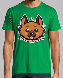 cara de perro de pastor alemán kawaii chibi - camisa para hombre