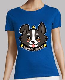 cara de perro kawaii chibi border collie - camisa de mujer