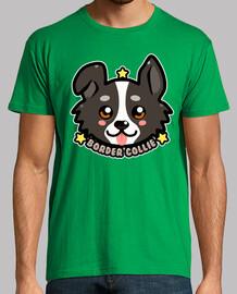 cara de perro kawaii chibi border collie - camisa para hombre