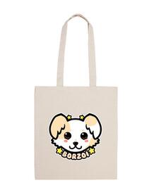 cara de perro kawaii chibi borzoi - bolso de mano