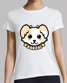 cara de perro kawaii chibi borzoi - camisa de mujer