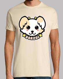 cara de perro kawaii chibi borzoi - camisa para hombre