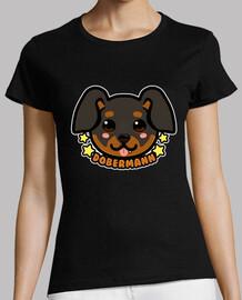 cara de perro kawaii chibi dobermann - camisa de mujer