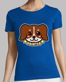cara de perro kawaii chibi puntero - camisa de mujer