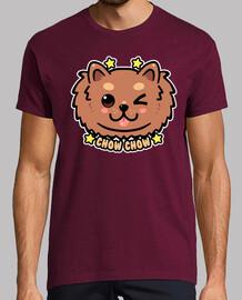 cara de perro kawaii chow chow - camisa de hombre