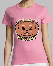cara de perro kawaii chow chow - camisa de mujer