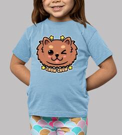 cara de perro kawaii chow chow - camisa de niños