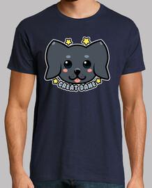 cara de perro kawaii great dane - camisa de hombre