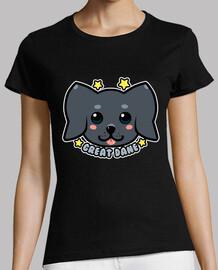 cara de perro kawaii great dane - camisa de mujer